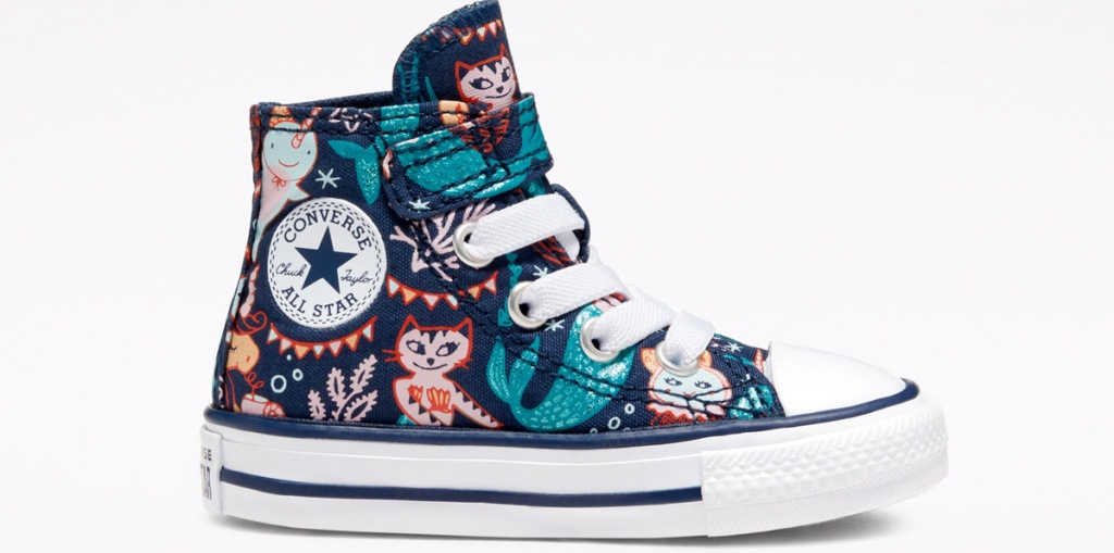 kids mermaid themed converse hi-top shoe with velcro strap