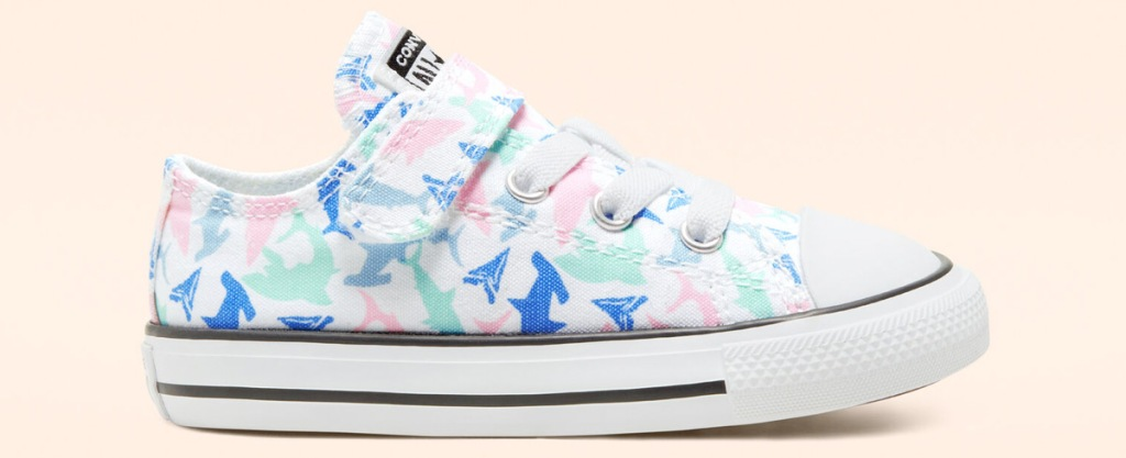 kids white converse shoe with shark print and velcro strap