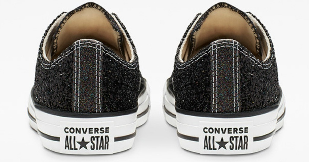 back side of black and white Converse