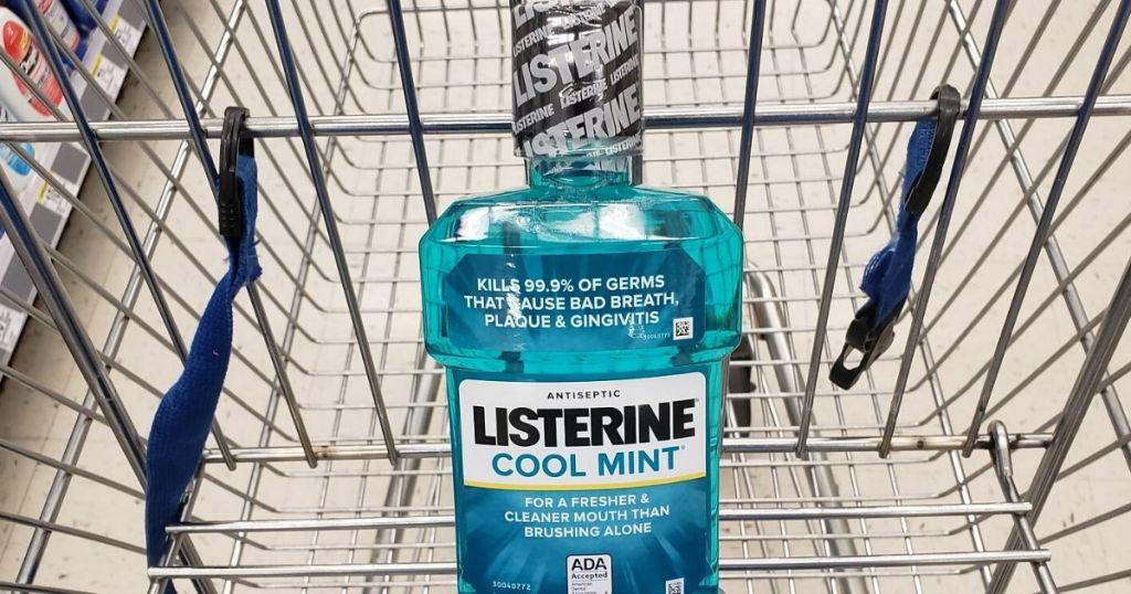Cool mint listerine 1 liter bottle in shopping cart