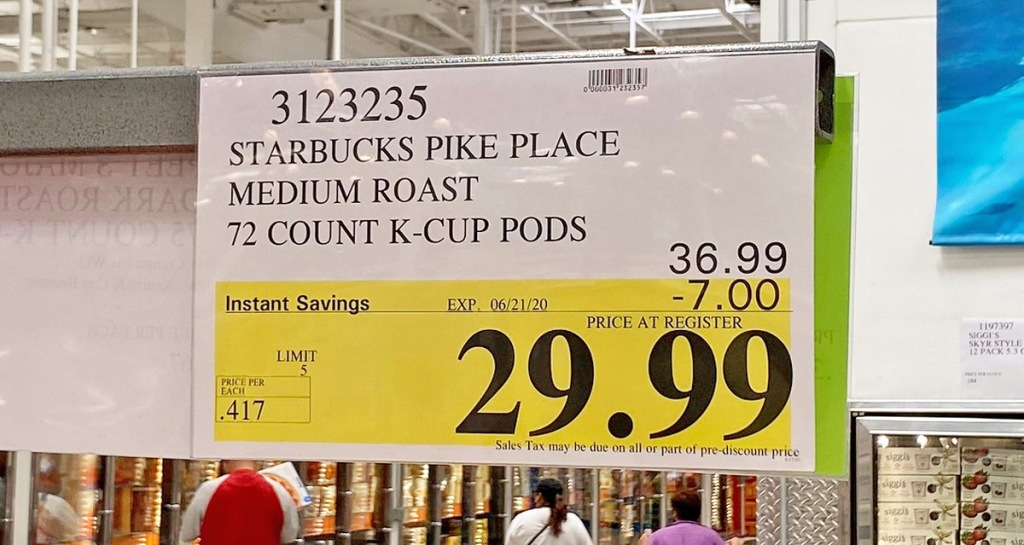 costco sale sign for starbucks pike place k-cups on sale for $29.99