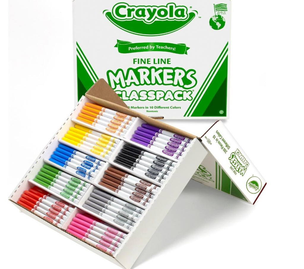 white and green crayola box with 200 fine tip crayola markers in 10 different colors