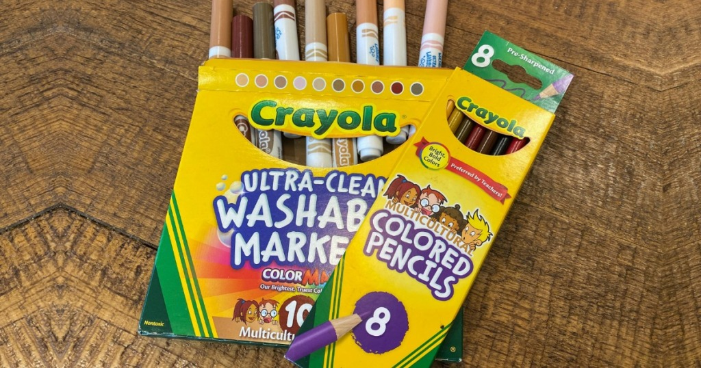 Crayola Multicultural Markers & Pencils on wooden table