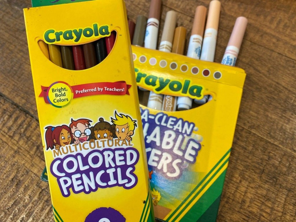 Box of Crayola Colored Pencils on wooden table