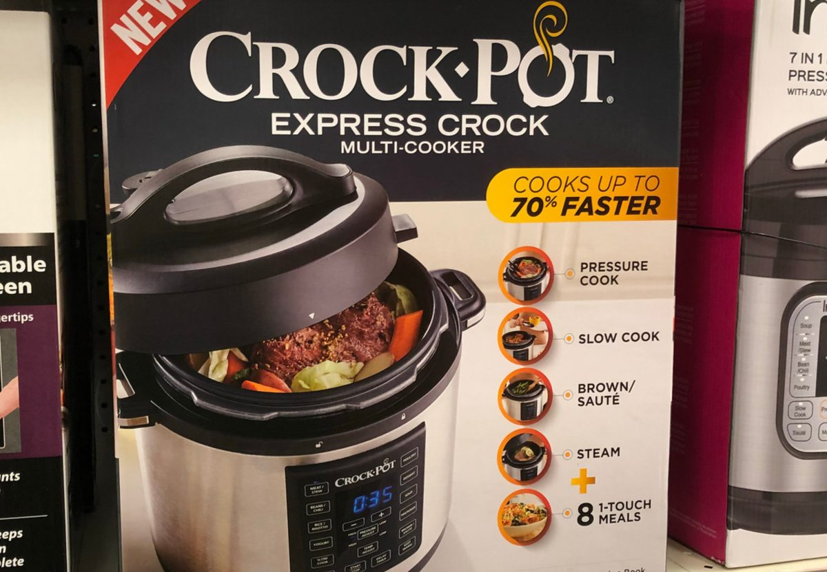 black stainless steel pressure cooker in box on store shelf