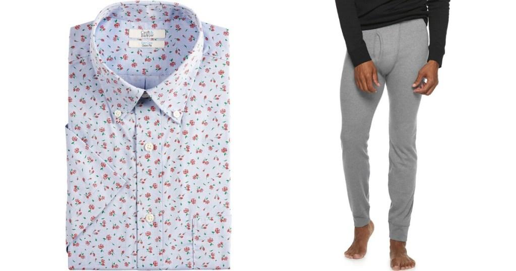 men's shirt next to man wearing pants
