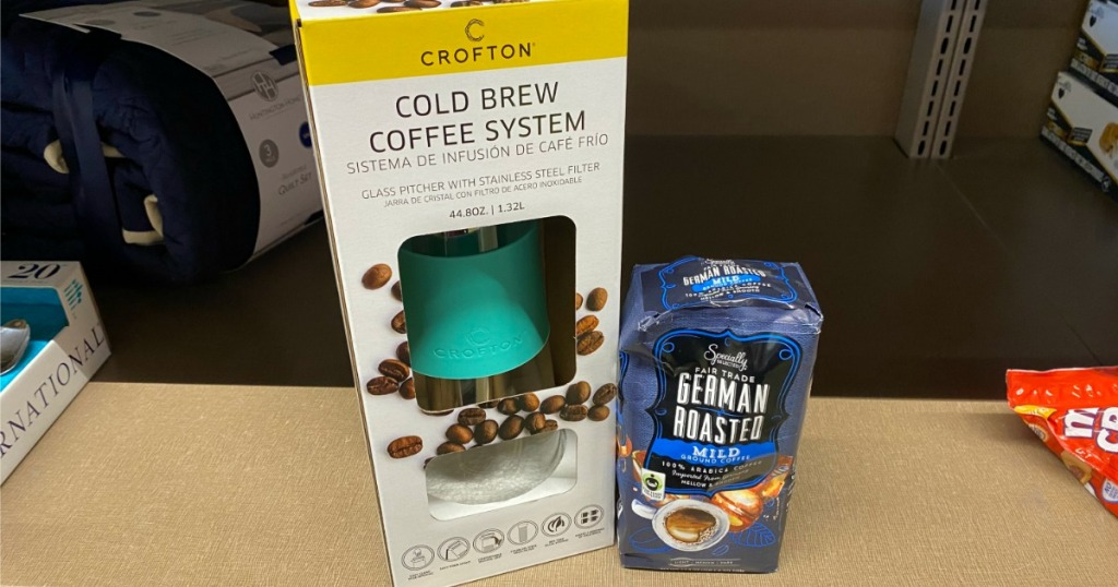 Crofton Cold Brew System next to bag of coffee