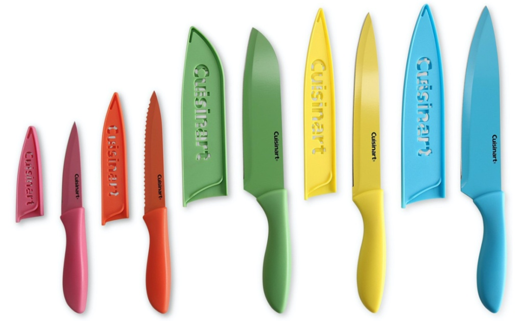 pink knife, red knife, green knife, yellow knife, and blue knife with corresponding blade guards