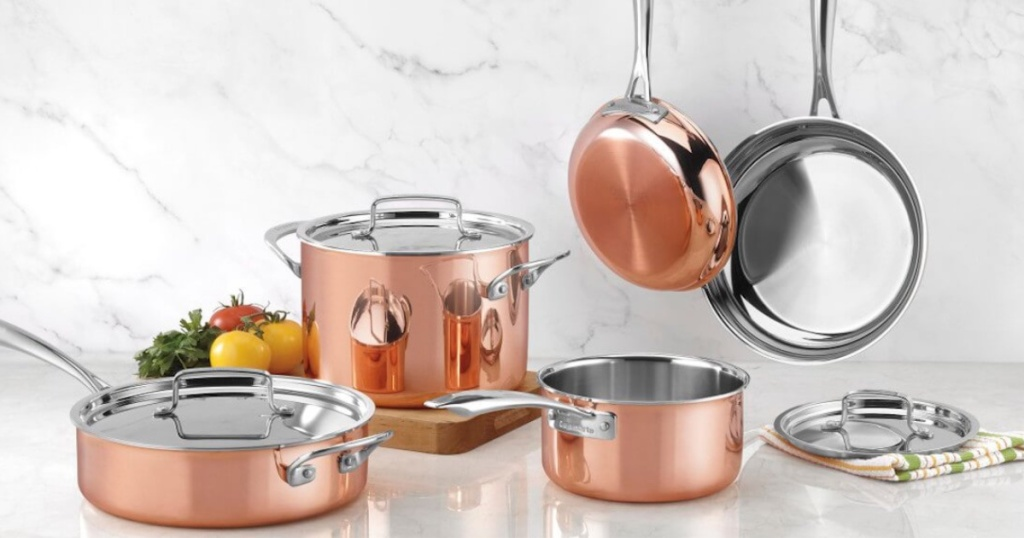 Cuisinart Copper Tri-Ply Stainless Steel 11-Piece Cookware Set with marble background