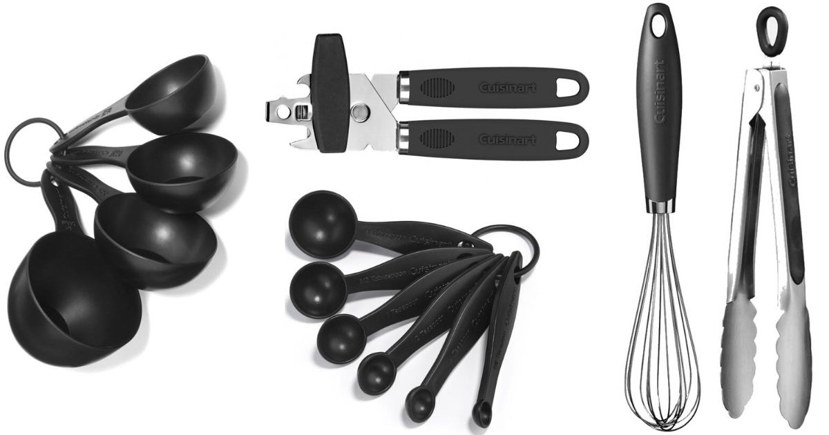 measuring cups, measuring spoons, can opener, whisk and tongs