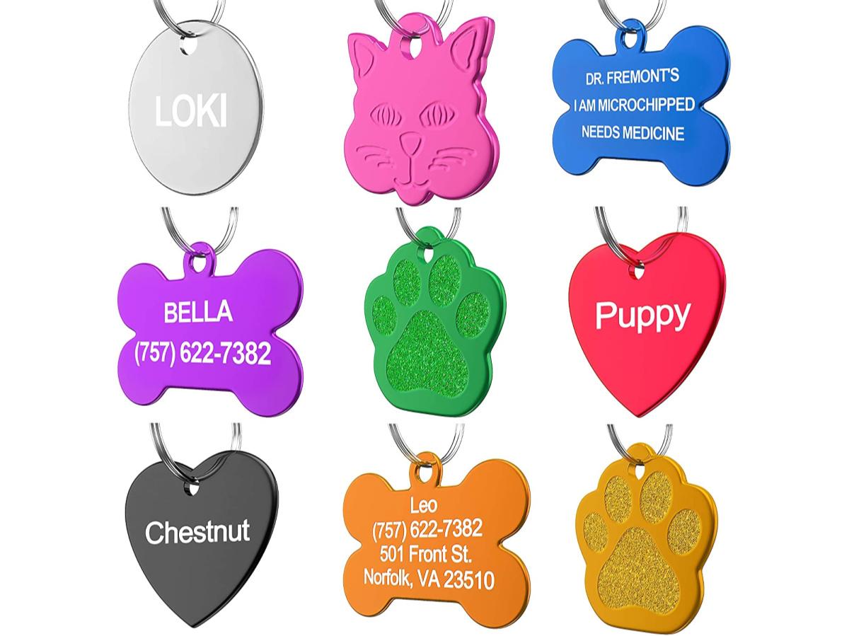Nine colorful custom pet ID Tags