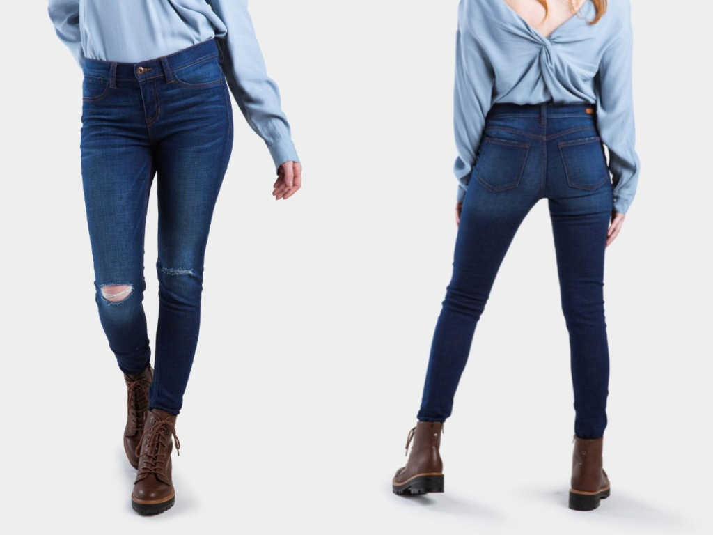 Destin Distressed Skinny Jeans on model