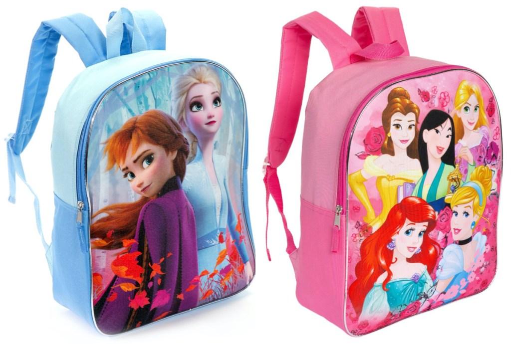 Disney blue Frozen 2 backpack and Disney pink Princess backpack