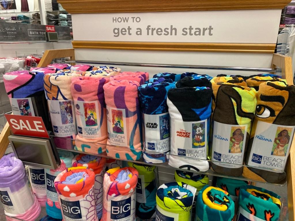 shelf with Disney Beach Towel