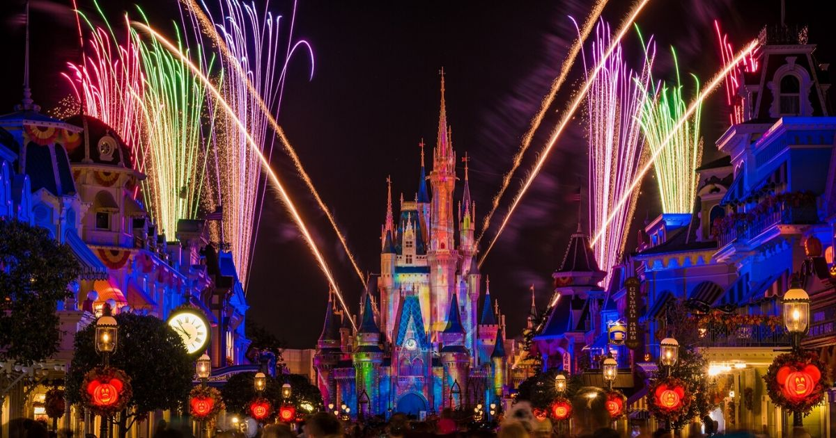 fireworks on main straight at the magic kingdom with halloween theme