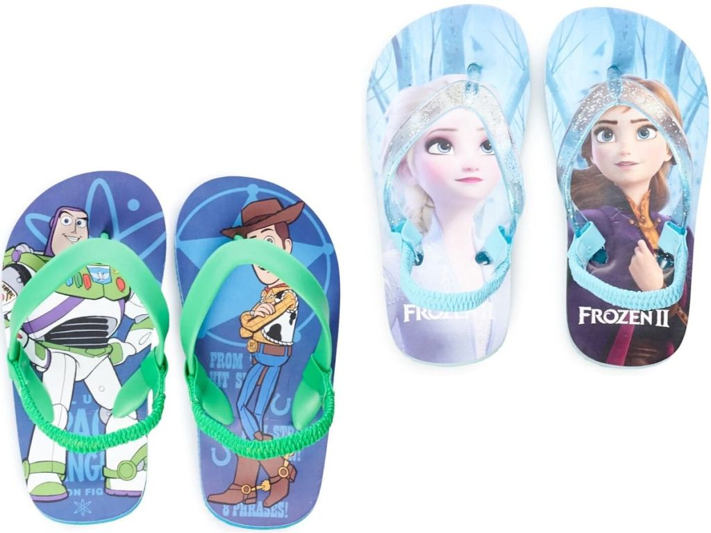 two pairs of disney flip flops