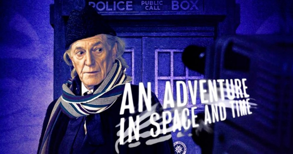 Doctor Who: An Adventure in Space & Time movie poster with Doctor Who in front of Tardis
