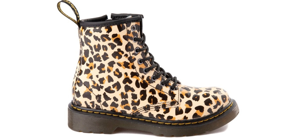 leopard print boots with black sole
