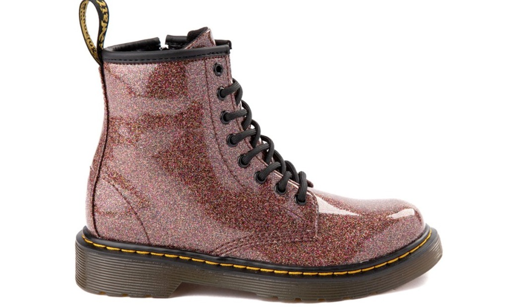 pink and bronze glitter boot with black sole