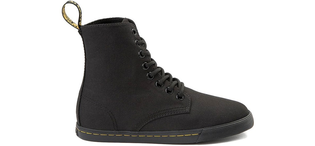 kids black canvas boot with black sole and laces