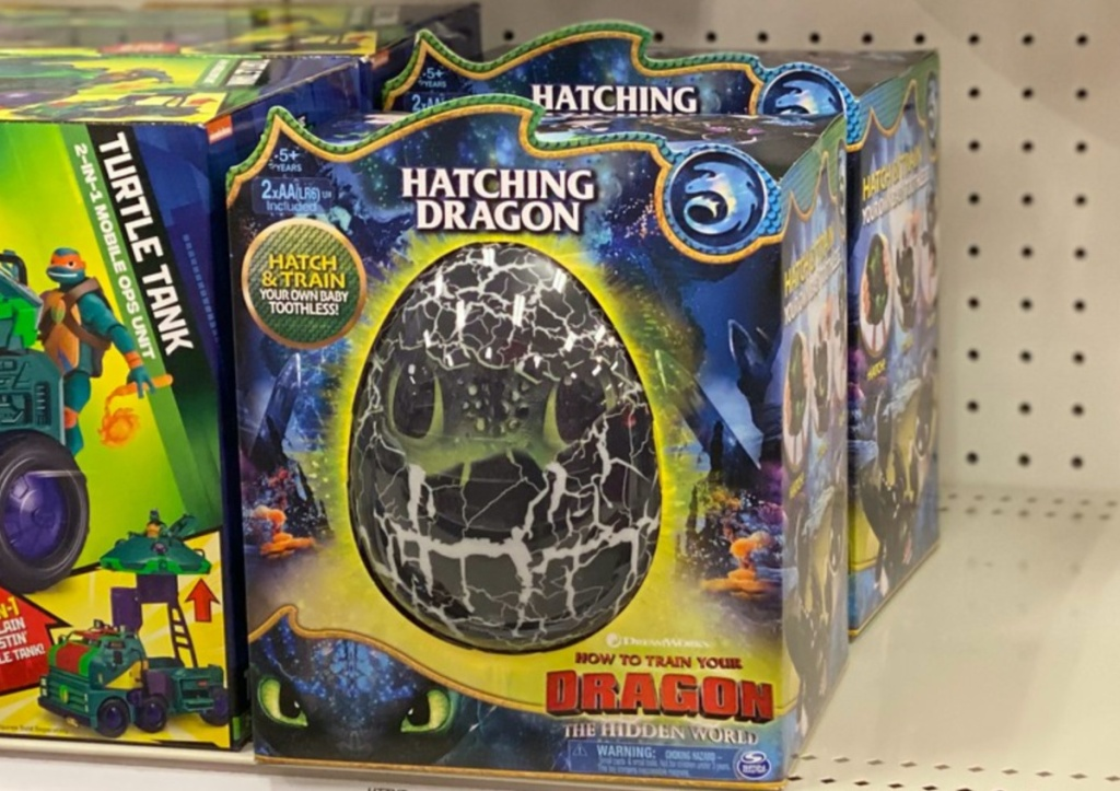 hatching dragon egg toy on store shelf