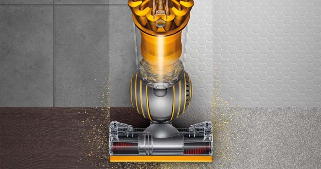 overhead view of yellow Dyson Ball Multi Floor 2 Upright Bagless Vacuum