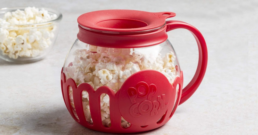 Ecolution Microwave Popcorn Popper filled with popcorn sitting on a counter