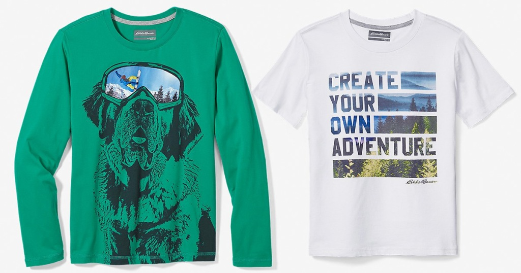 green long sleeve dog print boys shirt and white boys graphic shirt that says create your own adventure