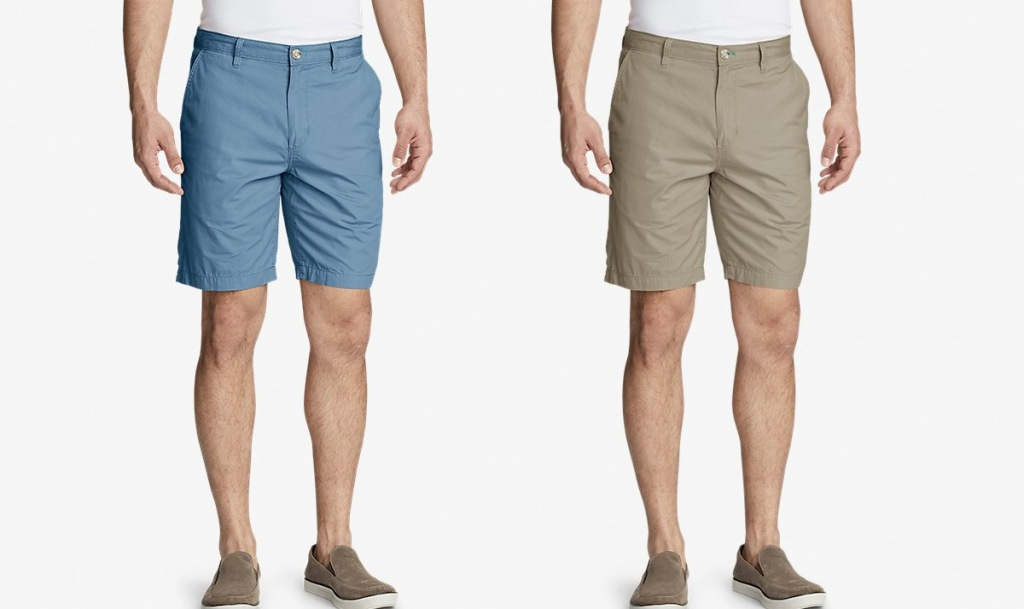 two men modeling shorts in blue and khaki colors