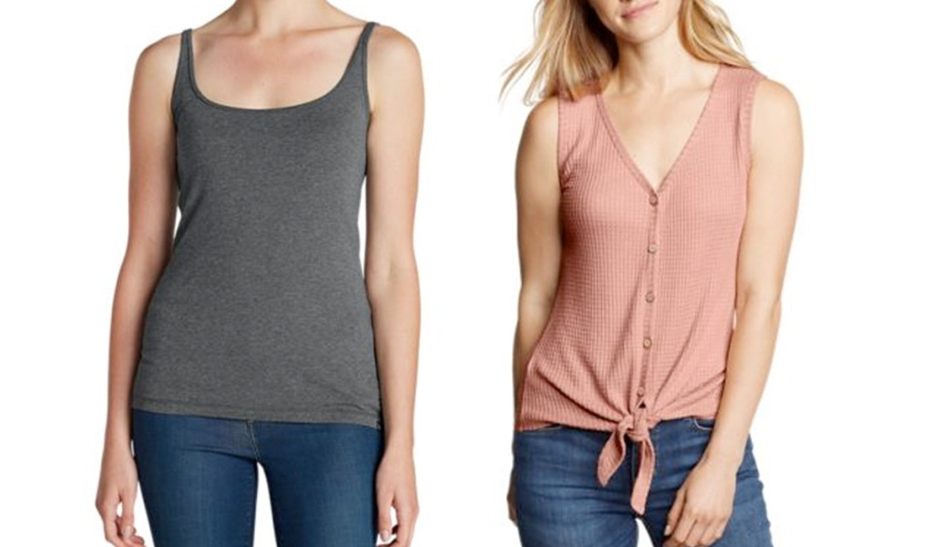 two women modeling a grey tank top and pink tank top with buttons and front tie at bottom