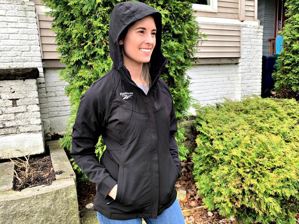 Emily wearing Reebok Women's Faux Fur Lined Jacket