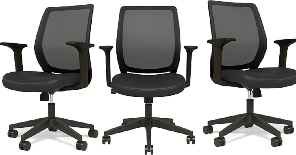 three Essentials Mesh Back Fabric Task Chair