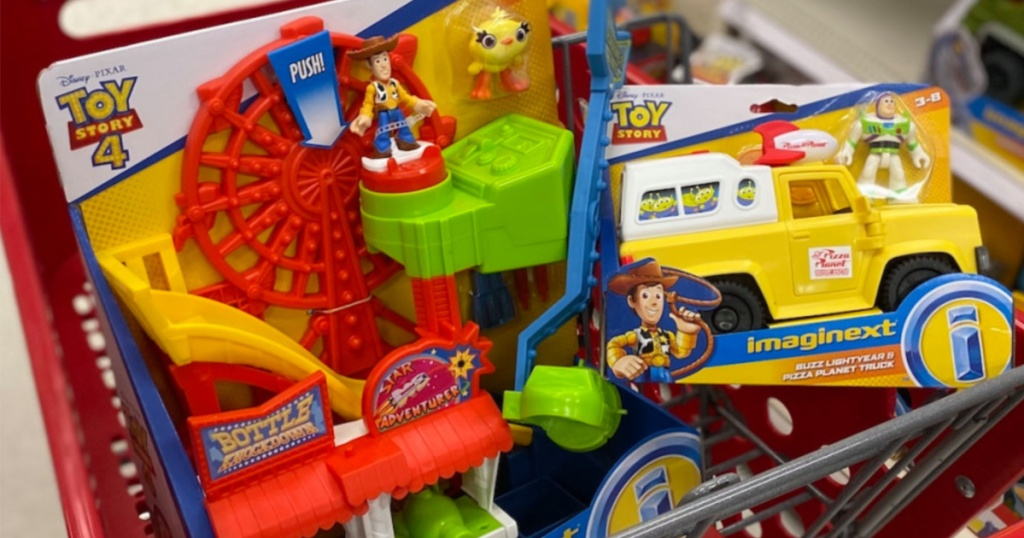 Fisher-Price Imaginext Disney Pixar Toy Story 4 Carnival Playset in target cart with additional toy in the cart