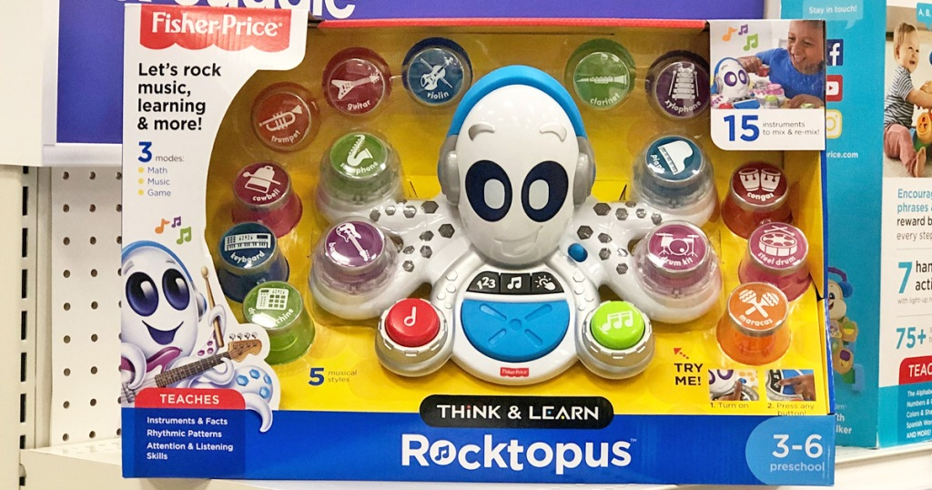Fisher-Price octopus shaped musical toy in box sitting on store display shelf