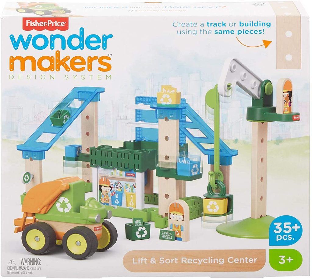 box of Fisher-Price Wonder Makers Design System Lift & Sort Recycling Center