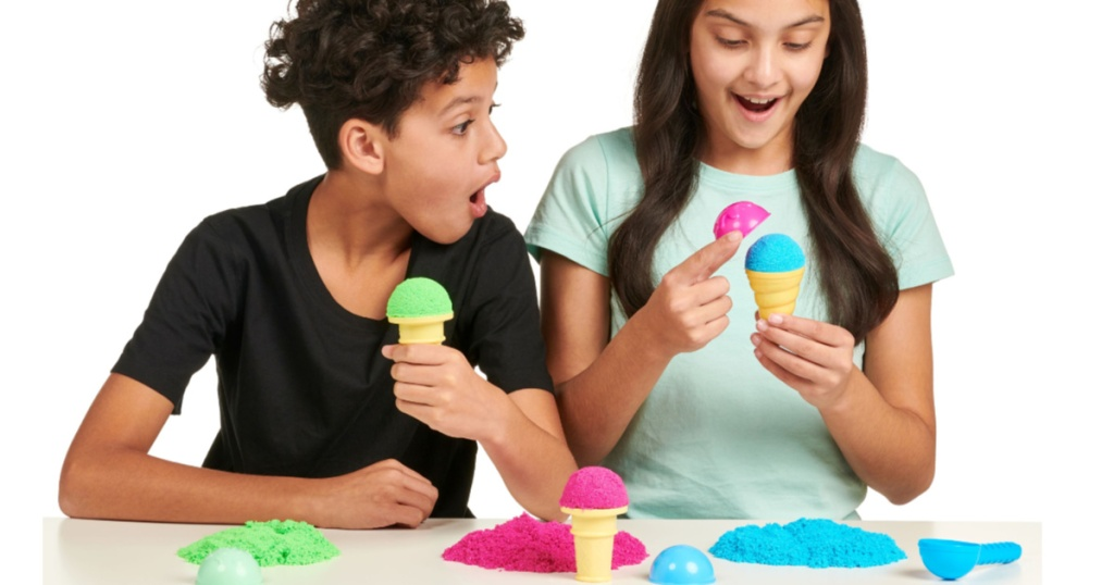 kids playing with pretend ice cream foam