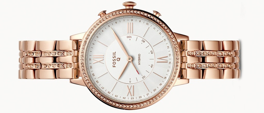 womens rose gold fossil watch with white face