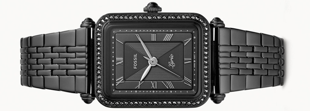 black fossil watch with square face and black band