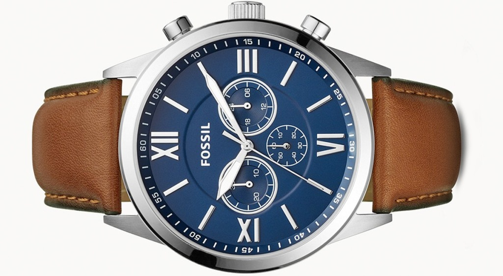 mens stainless steel fossil watch with blue face and brown leather band