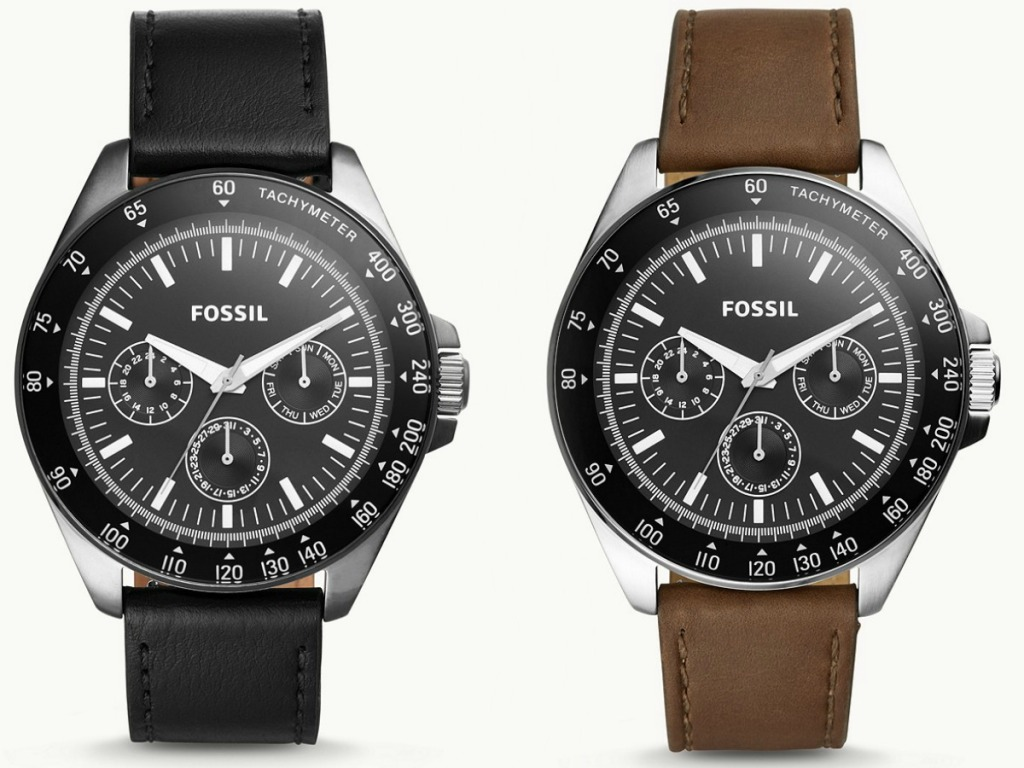 Two styles of men's leather watches