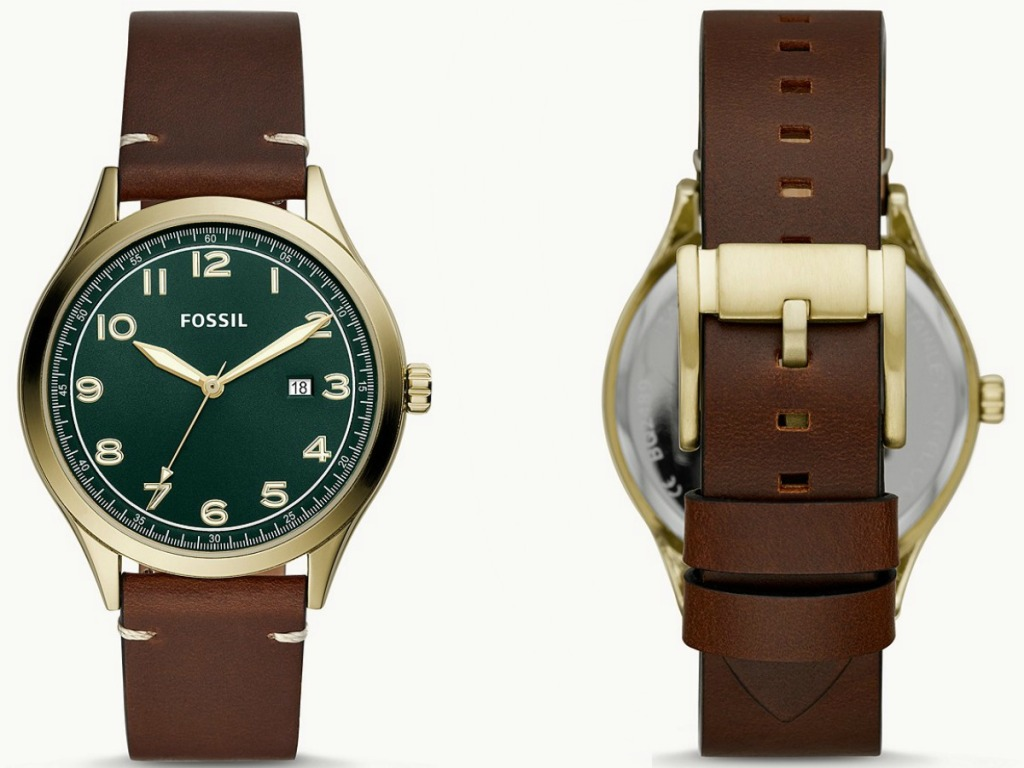Men's brown leather watch front and back view