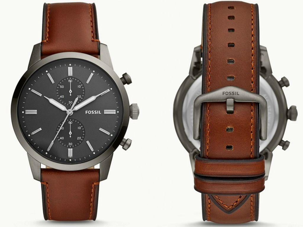 Front and back view of a men's brown leather watch