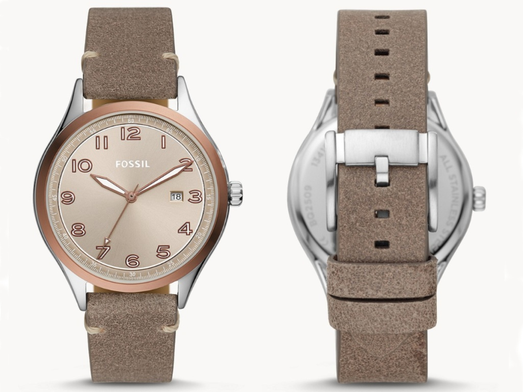 taupe leather fossil watch front face and back
