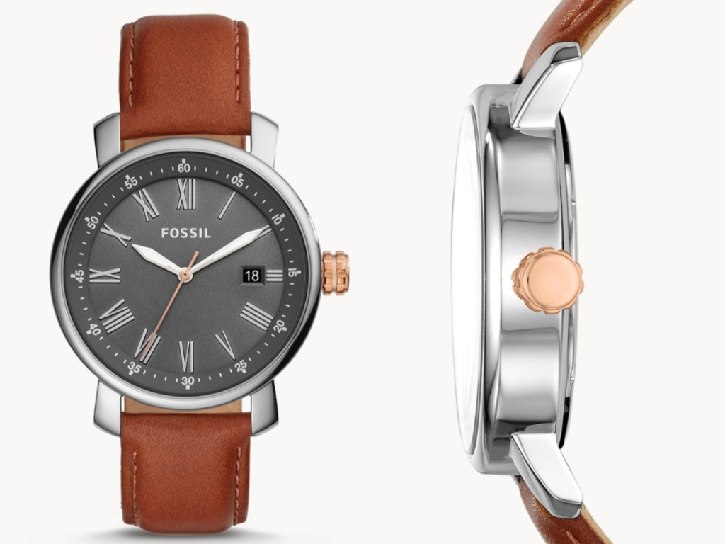 men's fossil watch front face and side view