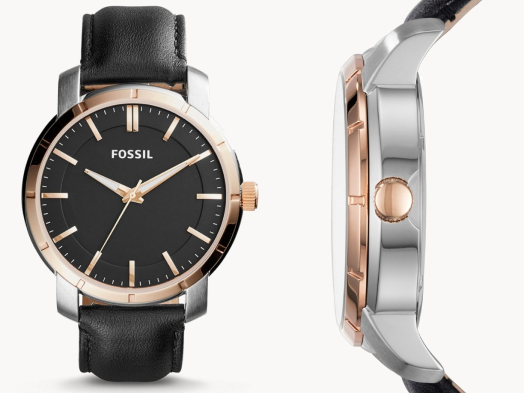 black leather men's fossil watch front face and side view