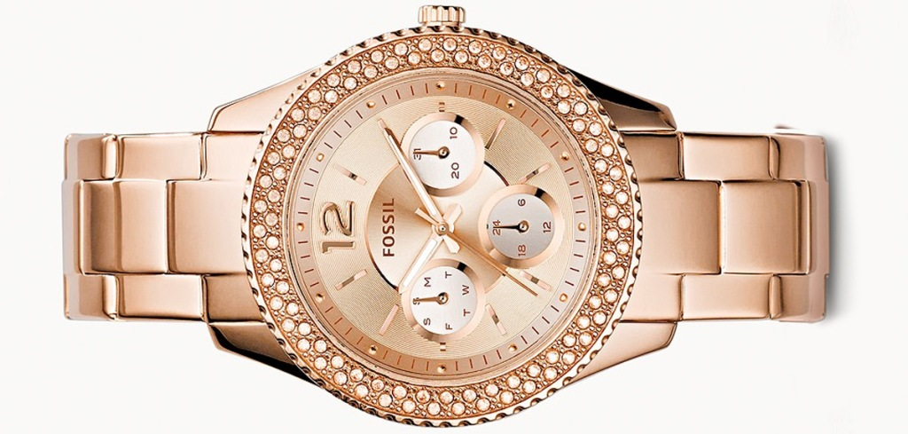 rose gold womens fossil watch with diamond accents around face