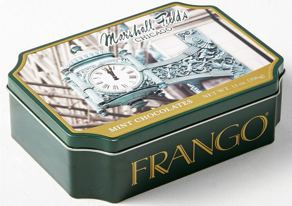 tin of frango brand chocolates with image of chicago printed on lid