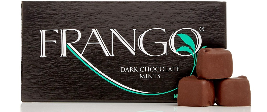 frango dark chocolate mints in brown box with three chocolates stacked in front