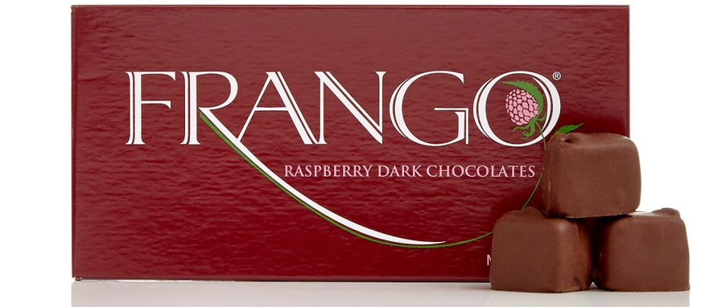frango raspberry chocolates in dark red box with three chocolates stacked in front