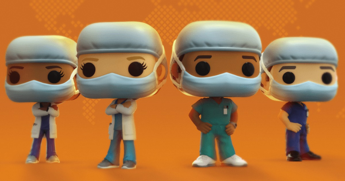 Heroes Front Line Worker Male Hospital Worker #2 Bundle with 1 PopShield Pop Box Protector Funko Pop